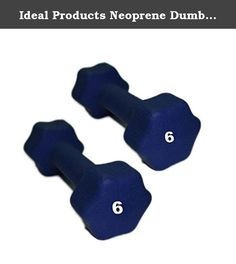 Ideal Products Neoprene Dumbbells Pair - 6 lb. These are Ideal Products' Neoprene Dumbbells. They are simple, effective neoprene coated iron hand weights that provide a soft grip and reduce slip. Perfect for jogging, aerobics, power walking, general exercise and physical therapy, these dumbbells are available at each pound from 1 to 10 lb, and afterward, up to 30 lbs in increasing increments.
