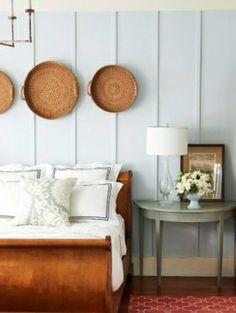 Wohnaccessoires selber machen schlafzimmer rattan teller wand