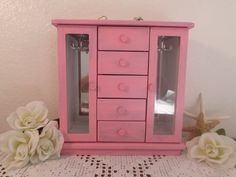 Pink Jewelry Box Tall Rustic Shabby Chic Beach Cottage French Country Farmhouse Home Decor Distressed Birthday Christmas Gift For Her Large by ElegantSeashore on Etsy https://www.etsy.com/listing/168168977/pink-jewelry-box-tall-rustic-shabby-chic
