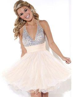 A-Line/Princess Halter Sleeveless Crystal Short/Mini Tulle Dresses - Homecoming Dresses 2015 - Homecoming Dresses