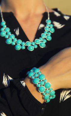 Liz Claiborne printed blouse and cluster necklace & bracelet
