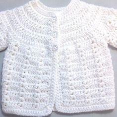 me ~ Newborn white cardigan - Infant matinee coat - Baby shower gift - Newborn baby coat - Infant white crochet jacket Crochet Baby Cardigan Free Pattern, Crochet Baby Jacket, Crochet Baby Sweaters, Baby Sweater Patterns, Crochet Baby Clothes, Baby Knitting Patterns, Crochet Gifts, Crochet Pattern, Toddler Cardigan