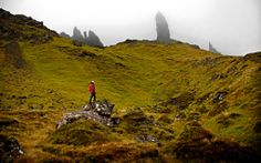 Remote reaches of Northern Scotland. Isle of Skye. Hiking to Storr's Monastery.