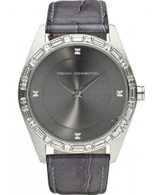 FRENCH CONNECTION Crystal Ladies Grey Leather Strap