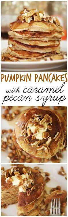 pumpkin pancakes with caramel pecan syrup