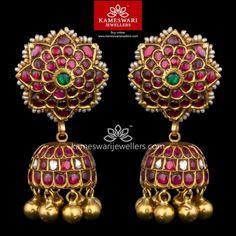 Gold Jhumka Earrings, Buy Earrings, Gold Earrings Designs, Gold Jewellery Design, Earrings Online, Gold Designs, Emerald Earrings, Antique Earrings, Gold Wedding Jewelry
