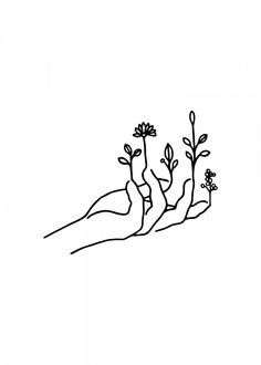 nature drawings Bloom hand by Nin Hol Outline Art, Outline Drawings, Art Drawings Sketches, Hand Outline, White Board Drawings, Simple Line Drawings, Easy Drawings, Easy Nature Drawings, Drawings About Love
