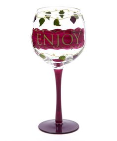 Take a look at this Red 'Enjoy' 18-Oz. Wine Glass by Dennis East International on #zulily today!