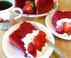 I was looking for healthier dessert and found this Red Velvet Angel Food Cake recipe.  I made it then used cool whip for icing and decorated with a sprinkling of miniature  dark chocolate chips. My quest Loved it. Try it!