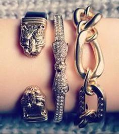 Tiger & Bows .. Oh My! <3 L.O.V.E. #layered #bracelets