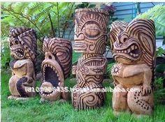 Antique Imitation Hand Carved Wood Tiki Photo, Detailed about . Tiki Hawaii, Hawaiian Tiki, Tiki Statues, Wooden Statues, Tiki Man, Tiki Tiki, Tiki Pole, Tiki Faces, Tiki Decor