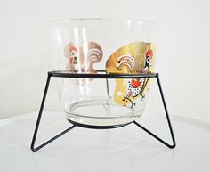 Mid Century Modern Vintage Glass Rooster Decor Bowl with Display Stand Ice Bucket Dish Barware Hostess Gift Gold Red Black