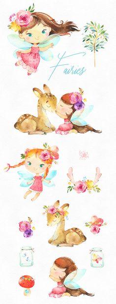 Fairies Watercolor magic clipart little girls dark skins deer wings forest fairytale flowers kids nursery babies baby-shower Fairy Clipart, 2 Clipart, Deer Cartoon, Conception Web, Fairy Drawings, Dark Skin Girls, Animes Wallpapers, Graphic, Oeuvre D'art
