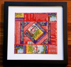 For the Beer Lover that has Everything, Framed Art using Pieced Recycled New Belgium Fat Tire beer labels by squigglechick