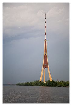 Riga TV Tower - Riga, Latvia; the tallest tower in the Baltic countries and in the European Union; completed in 1986; it is 1,209 feet high, with an observation platform at 318 feet; two of the pillars have elevators, the third has a staircase; photo by ©Andrey, via Flickr