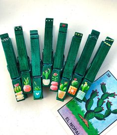 CACTUS CLOTHESPINS painted emerald green boho chic hipster