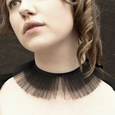 Black tulle choker collar- Lucy - ruffled with satin ribbon <3 - DIY Idea