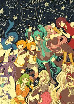 Vocaloid - Kaito, Kagamine Len and Rin, Hatsune Miku, Megurine Luka, Meiko, Kamui Gakupo, Gumi, Ia, Mayu