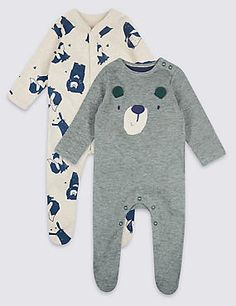 Buy the 2 Pack Applique Pure Cotton Sleepsuits from Marks and Spencer's range. Toddler Outfits, Baby Boy Outfits, Baby Up, Bear Design, Hospital Bag, Baby Grows, Baby Sleep, Applique, Unisex