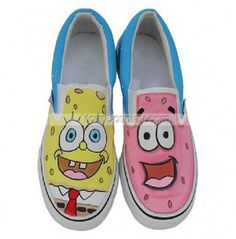 Low SpongeBob SquarePants Yellow Pink Hand Painted Canvas Shoes, SpongeBob Shoes, Cosplay Hand Drawing Shoes