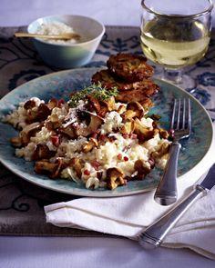 Pfifferlingsrisotto zu Parmesan-Thymian-Schnitzelchen Rezept