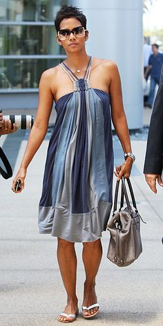 Who made Halle Berry's blue halter dress and purse while out in Beverly Hills?