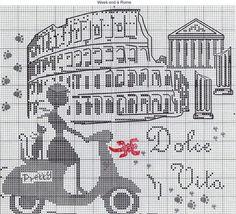 point de croix femme italie vespa - cross stitch woman, girl, italy, vespa