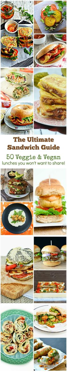 Are your lunches boring or repetitive? Check out the Ultimate Sandwich Guide. 50 Vegan and Vegetarian Sandwiches to rock your lunchtime. So if you're veggie or just dairy free, check it out. Sandwiches, rolls, wraps, quesadillas and toasties. You'll never be stuck for lunch ideas again.