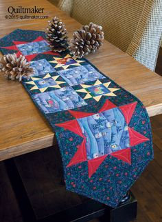 This Stellar Setting Table Runner kit includes festive Jim Shore holiday fabric.