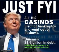 """Trump racked up $1.6 billion in debt. Six casinos went bankrupt. Thousands of employees & investors (not to mention all of Atlantic City) ripped off while he got richer & continued to exploit the tax code. That doesn't make him """"smart"""" or """"so good at business""""...it makes him a con artist!"""
