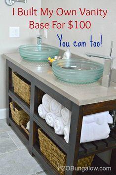 Diy Furniture : DIY Open Shelf Vanity With Free Plans and tutorial to build a vanity. Diy Vanity, Diy Bathroom Vanity, Small Bathroom, Bathroom Ideas, Vanity Ideas, Bathroom Cabinets, Bathroom Inspiration, Bathroom Hacks, Neutral Bathroom