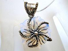 Sterling Silver Sajen Moonstone Necklace Pendant Carved Flower Designer Signed | eBay
