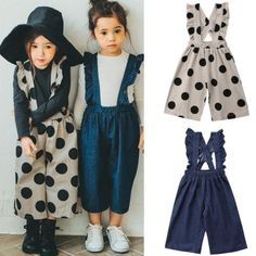 Fashion Casual Overalls Toddler Girls One Piece Ruffle Romper Sleeveless Ruffles Dot Print Denim Blue 2 Style Autumn Bib Pants, Ropa de niña, Overall Kind, Baby Overall, Cute Girl Outfits, Kids Outfits, Baby Outfits, Baby Girl Fashion, Kids Fashion, Look Fashion, Fashion Outfits