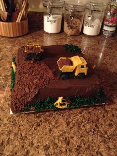 "Chocolate ""bulldozer"" cake made for a birthday."