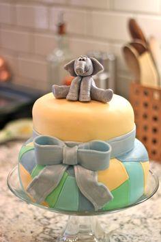 Baby shower cake w/ gumpaste elephant. Website coming soon. www.sugaryandchic.com These cakes are AMAZING!!
