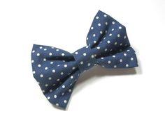 Dog Bow Tie - Navy Blue Polka Dots Bow Tie, Blue Dog Bow Tie, Cat Bow Tie