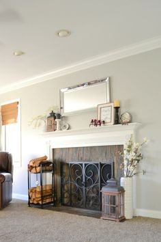 """Love this beautiful mantel!  Click through for """"before"""" and """"after"""" pictures!"""