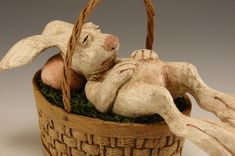 One tired bunny Easter Art, Easter Crafts, Easter Bunny, Ceramic Animals, Ceramic Art, Bear Statue, Rabbit Sculpture, Whittling Wood, Marionette