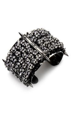 Fenton - Lorenz Segmented Pave Cuff  This gunmetal-plated cuff features Swarovski crystal pavé embellishment  Slips on  Gunmetal-plated brass with Swarovski beading  Made in USA $650
