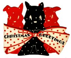 Vintage-Christmas-Card-Image-On-CD-Scottie-Dogs-Polka-Dots