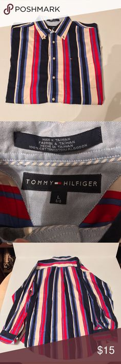 Tommy Hilfiger Button Down shirt Tommy Hilfiger Button Down shirt size L red beige blue Tommy Hilfiger Shirts