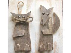 Quadri - Legno da Parete - Quadro in legno Gatto e la Volpe - un prodotto unico…