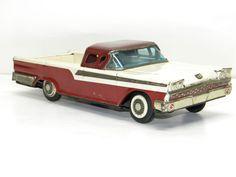 Antique Tin Toy Friction Car Vintage FORD RANCHERO Metal Toys Promo Car 1950's