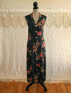 90s Sleeveless Black Floral Maxi Dress Tropical Summer Button