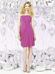 cfcb14055ae Dessy Social Bridesmaid style 8124 is a Cocktail length strapless nu-georgette  dress w