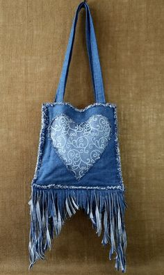 Denim Fringe Purse Handmade from Recycled Blue Jean Denim, Blue Lace Heart, Long Fringed Bottom, Frayed Edges and Double Shoulder Straps