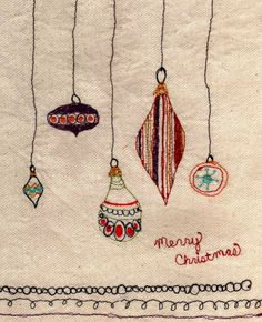 Artful free motion embroidery. Old fashioned, vintage Christmas ornaments. Merry Christmas stitching.