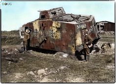 German A7V tank (Nº504-'Schnuck') Abteilung 2. Captured by the New Zealand Division at Frémicourt, France. 31st August 1918 (Painted in a three colour scheme of red/brown and clay/yellow on Feldgrau)