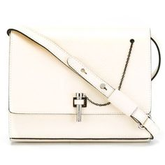 Carven latch detail shoulder bag ($495) ❤ liked on Polyvore featuring bags, handbags, shoulder bags, white, white leather purse, leather shoulder handbags, leather purse, real leather purses and genuine leather handbags