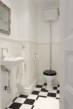 Ideas Bath Room Inspiration Mirror Floors For 2019 Downstairs Cloakroom, Downstairs Toilet, Laundry In Bathroom, Simple Bathroom, Laundry Rooms, Victorian Toilet, Victorian Bathroom, 1930s Bathroom, Style Retro